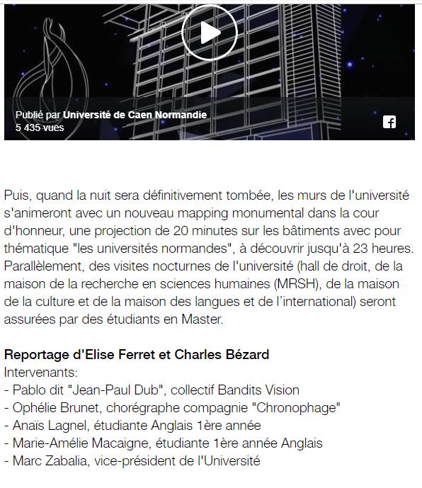 France 3 video mapping université de CAen
